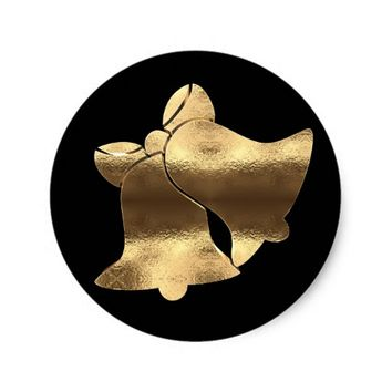 Elegant Black and Gold Look Christmas Bells Classic Round Sticker
