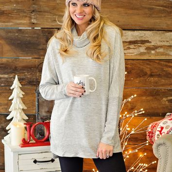 * Tell Me What You Want L/S Tunic Top: Grey