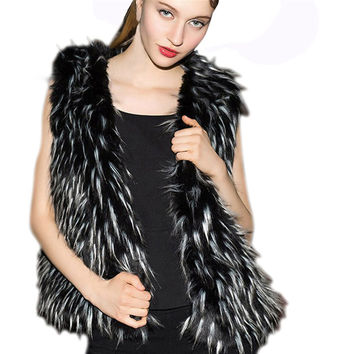 Brand Faux Fur Vest Winter Warm Long Women Faux Fox Fur Vest Furry Slim Woman Fake Fur Vest Plus Size Fur Vests High Quality 1D3