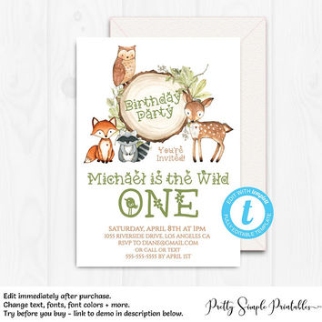 Woodland Invitation, Boy, Woodland Birthday Invitation, Template, Party, Wild One Birthday, Editable, Instant Download, Fox, Templett, WD03