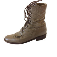 Women Justin Boot Lace Up Boot Taupe Ankle Boot Women Ankle Boot Boho Boot Bohemian Boot Hipster Boot Women Short Boot Cowboy Boot Cowgirl