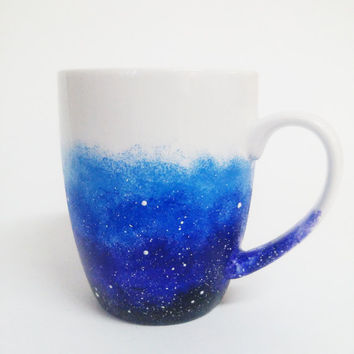 Galaxy Coffee Mug  Hand painted White Ceramic mug Starry Night Sky mug Cosmic mug