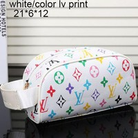 LV Louis Vuitton Women's Tide Brand Fashion High Quality Leather Tote F-MYJSY-BB white/color lv print