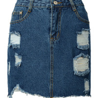 Deep Blue Denim High Waist Mini Skirt
