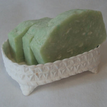 Cucumber Melon Handmilled Soap Slice / vegan cold process soap