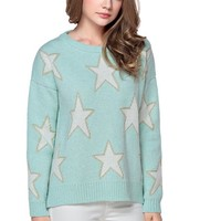 TopStyliShop Women's Stars Pattern Round Neck Sweater with Asymmetry Herm S1030