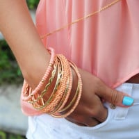 Banded Together Bracelets: Gold/Peach