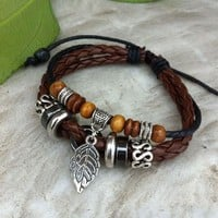 Handmade Leather Bracelet-Leaf