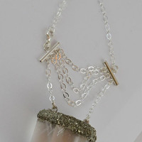 "Large ""Gypsy"" Quartz Point/Pyrite Necklace"