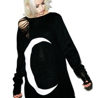 Kill Star Luna Distressed Knit Sweater | Dolls Kill