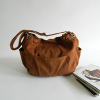 SALE - Anna in Cognac // messenger / shoulder bag / diaper bag / School bag / Purse / Hobo / tote bag / women / For her
