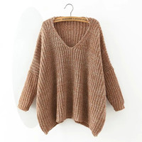 V-Neck Long-Sleeve Knitted Loose Shirt
