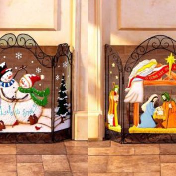 Holiday Fireplace Screen Snowman / Nativity Christmas Winter Country Home Decor