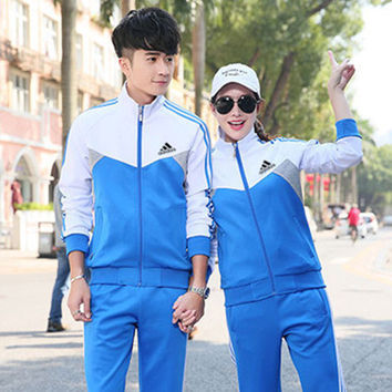 """Adidas"" Fashion Casual Multicolor Stitching Stripe Unisex Long Sleeve Zip Cardigan Couple Sweater Set Two-Piece Sportswear"