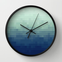 Pixel Gradient Aqua Wall Clock by Raquel Catalan Designs