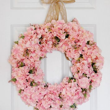 Pink Hydrangea Wreath, Front Door Wreath, Spring And Summer Wreath, Wedding  Wreath,