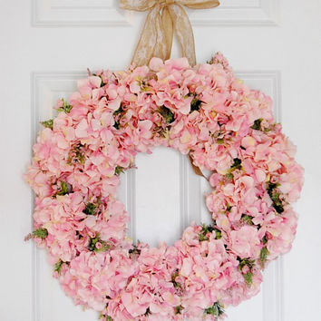 Pink Hydrangea Wreath, Front Door Wreath, Spring and Summer Wreath, Wedding Wreath, Large Full Wreath