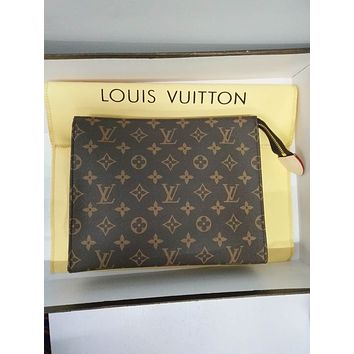 LV Louis Vuitton Fashion New Women Leather Monogram Print Clutch Bag Handbag