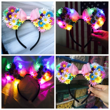Rainbow LED Light Up Mickey EarsFlower Mickey by TheLUMiShop