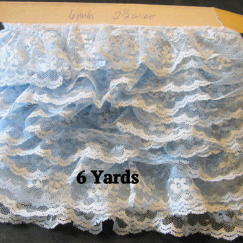 Blue Lace Trim, By The Yard, Ruffled Gathered Light Blue, Baby Blue, Sky Blue