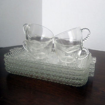 Anchorglass Bubble Serva-Snack Set of 4 - Anchor Hocking - Vintage Snack Set