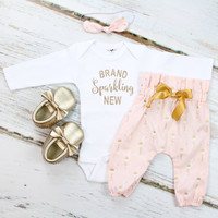 Newborn 'Brand Sparkling New' Take Home Outfit | Pink w/ Gold Flamingos High Waisted Pants w/ Knotted Headband