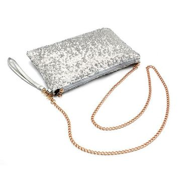 ASDS Glitter Bling Sparkling Sequins Clutch Handbag Purse Evening Party Shoulder Bag, Silver