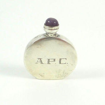 Vintage Silver Perfume Bottle with Amethyst Stopper from Mexico