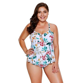 Chicloth Tropical Floral Print Peplum One Piece Swimsuit
