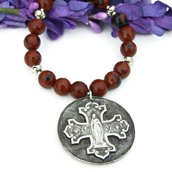 Virgin Mary Bless This Woman Cross Necklace, Mahogany Obsidian Gemstone Christian Jewelry