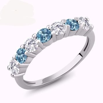 1.16 Ct Round White Created Moissanite Blue Topaz 925 Sterling Silver Ring