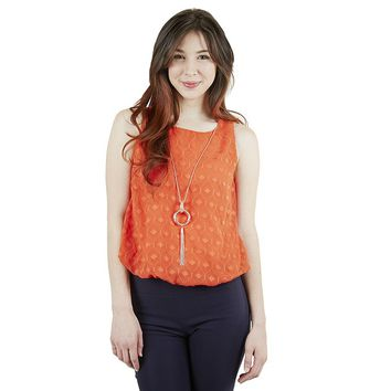 IZ Byer California Textured High-Low Top with Necklace - Juniors, Size:
