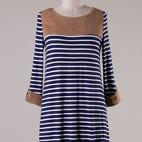 Persuade Me Dress - Suede and Stripes