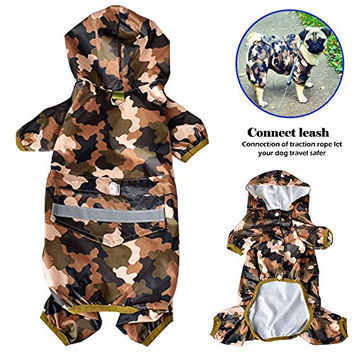 STAR-TOP Pet Dog Cat Raincoat Clothes Puppy Glisten Bar Hoody Apparel Waterproof Camo Rain Jackets (L, Multi-colored)