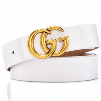 GUCCI Women's Simple Joker Fashion Vintage Belt white