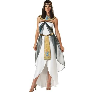 Cool Sexy Women's Sleeveless Arab Queen Of Egypt Cleopatra Costume Fancy Dress Clothes Halloween Egyptian Costume Ethnic ClothingAT_93_12