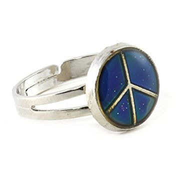 Peace Sign Mood Ring Adjustable Silver Tone Color Change RB30 Statement Fashion Jewelry