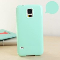 ANLEY [Candy Fusion] Samsung Galaxy S5 Case - [Non-Slip] [Slim Fit] Classic Jelly Silicone Skin Case Soft Cover (Mint Green) + Free Ultra Clear Screen Protector Film