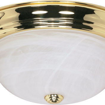 "15"" Flush Mount Lighting Fixture in Polished Brass Finish"