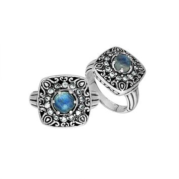 "AR-6224-RM-8"" Sterling Silver Ring With Rainbow Moonstone"