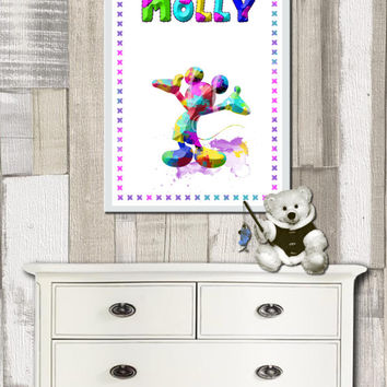 Mickey Mouse Poster, Nursery, baby's room, child's room, Art print