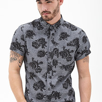 Rose Print Button-Down Grey/Black
