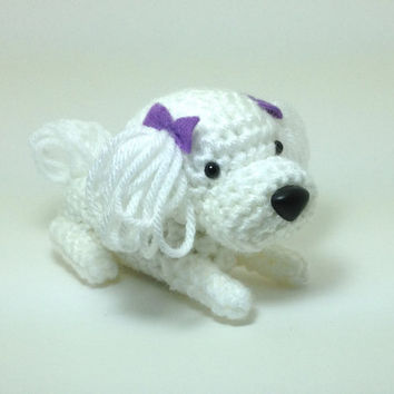 Maltese Amigurumi Dog Crochet Dog Stuffed Animal Doll by Inugurumi
