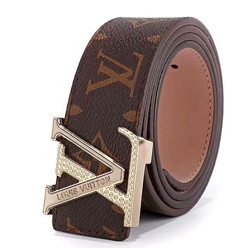 LV tide brand men and women embossed letter head simple wild smooth buckle belt Coffee print