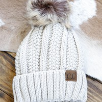 Knitted Beanie With Fur Pom, Ivory