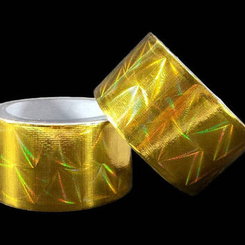 Gold Duct Tape Prism Holographic 15ft Roll Holo Color Shifting Decor Gift Wrap DIY Planner Art Project Card Paper Crafts Scrapbooking Supply