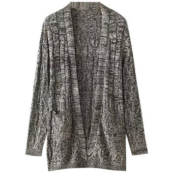 Knitted Long Cardigan with Pocket