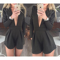 DEEP V-NECK LONG SLEEVED JUMPSUITS
