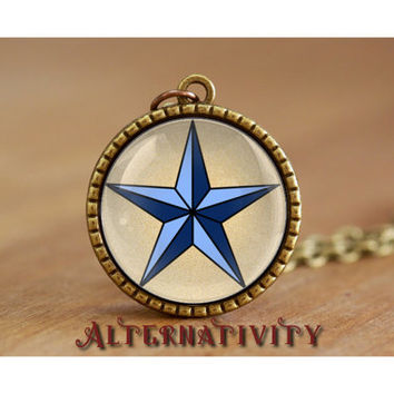 """Sailor Jerry Necklace, nautical star necklace, tattoo, brass round glass cabochon 25mm, 1"""" pendant"""