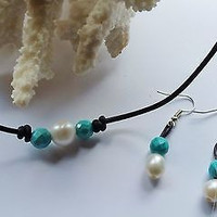 Pearl and Genuine Turquoise Choker on AA Leather/ Earring gift set! Same or next day ship